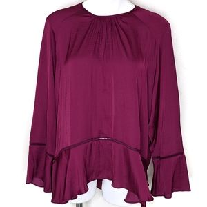 Maroon Bell Sleeve Loose Fitted Blouse
